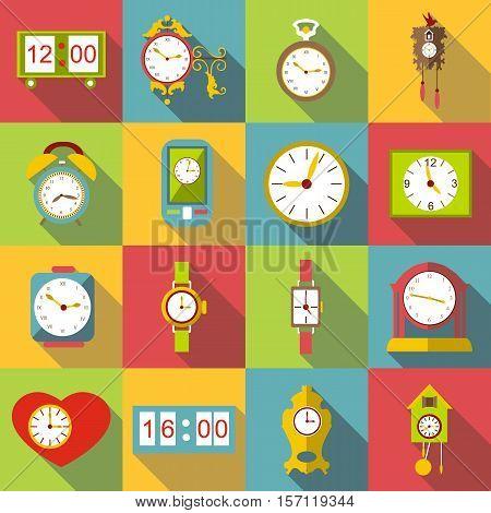 Different clocks icons set. Flat illustration of 16 different clocks vector icons for web