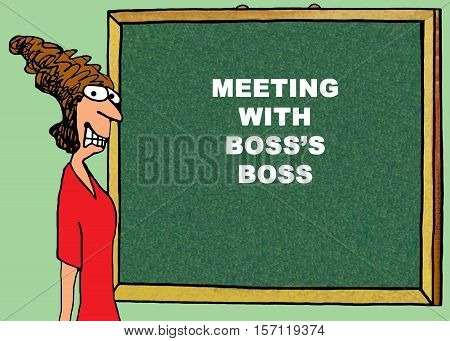 Color business illustration about being stressed out meeting with the boss's boss.
