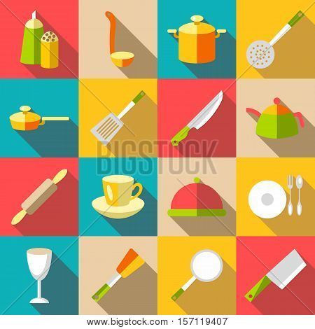 Tableware items icons set. Flat illustration of 16 tableware items vector icons for web