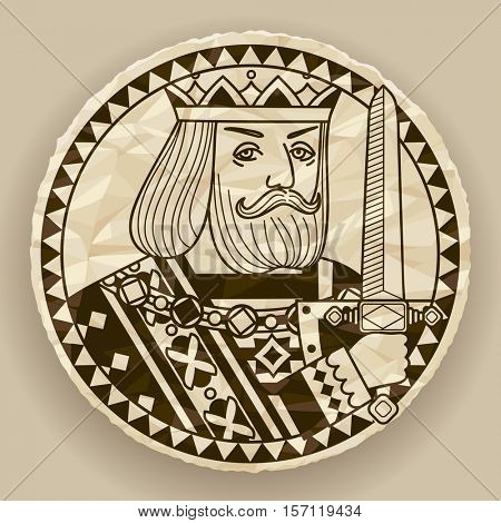 Face of King on round crumpled paper background. Vintage contour drawing of playing cards character. Vector illustration