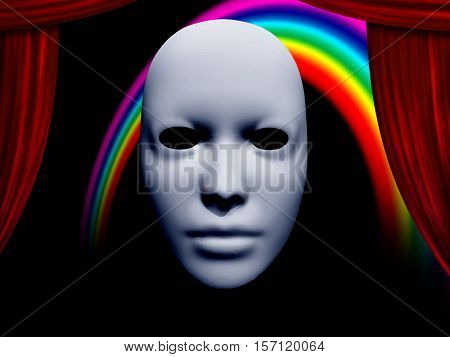 white mask and curtains with rainbow   3D Render