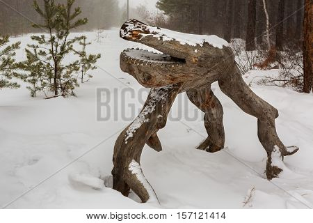 Baikal, Russia - March 06, 2016: Wood sculpture in the Trans-Baikal National Park.