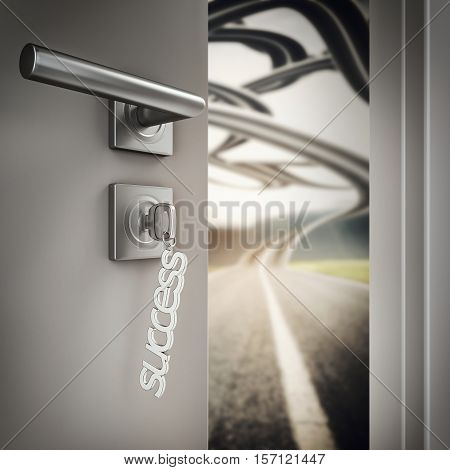 3D Rendering Open door with success keyrings on a road