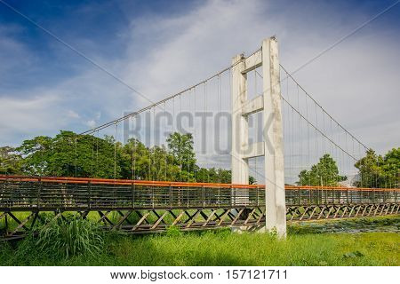 close up Suspension bridge In public park