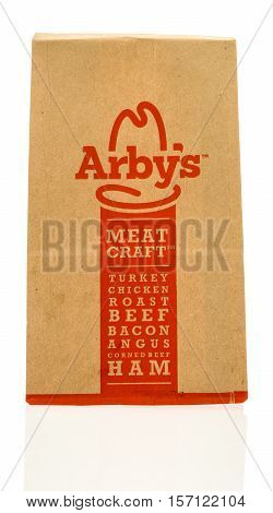 Winneconne WI - 16 November 2016: Arby's paper bag on an isolated background.