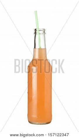 Bottle of peach flavored fruit punch isolated on white background