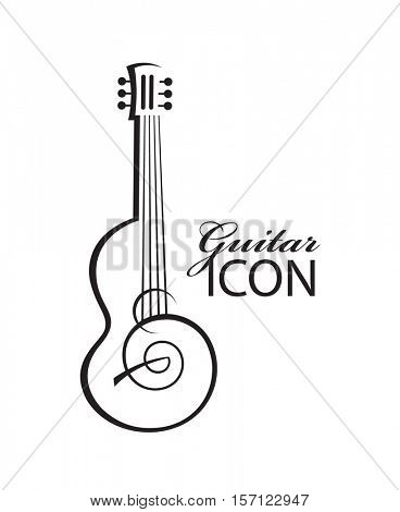 monochrome abstract image of guitar with text