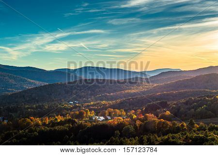 Looking down over the south end of Woodstock Vermont during the peak of fall foliage season