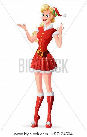 Beautiful cute blond young woman in red Christmas Santa Claus outfit presenting and showing OK sign gesture. Cartoon pin-up style vector illustration isolated on white background.