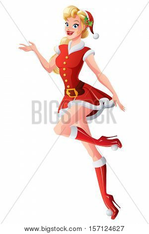 Beautiful cute blond young woman in red Christmas Santa Claus outfit presenting. Cartoon pin up style vector illustration isolated on white background.