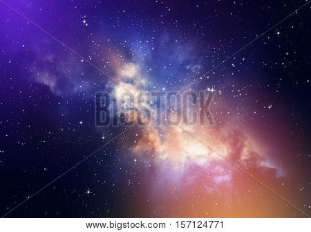 Stars in the night skynebula and galaxy