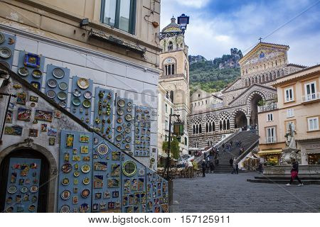 DUOMO ST.ANDREW AMALFI ITALY - NOVEMBER 5 : tourist taking a pho and standing in front of Amalfi cathedral church on november 5 2016 in amalfi town south italy
