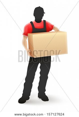 Delivery service man postman silhouette in black uniform holding cardboard box parcel hands. Vector illustration. Isolated white background