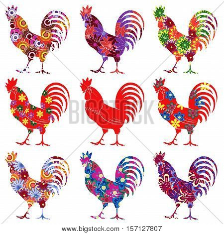 Set of nine roosters one in red colour and others with colourful motley flowers vector illustrations isolated on the white background