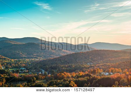 Lokking down over the south end of Woodstock Vermont during the peak of fall foliage season