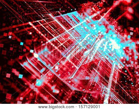 Abstract blurred tech background - computer-generated image. Fractal art: glass surface with chaos glowing lines, perspective and square bokeh. Technology blur for covers, posters, web design.