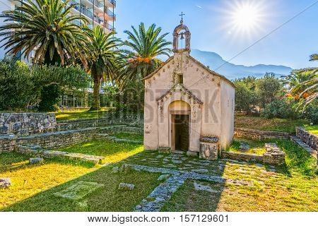 TUCEPI, CROATIA - September 22, 2016: The old Church of St. George from the 13th century, is located by the coast.