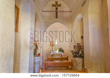 TUCEPI, CROATIA - September 22, 2016: Interior of the old Church of St. George from the 13th century, is located by the coast.