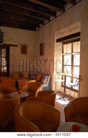 Hotel Bar With Orange Leather Seats In Chiapas, Mexico