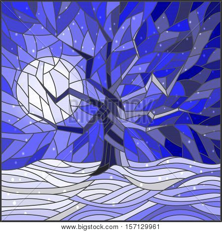 Winter landscape in the stained glass style with a lone tree against the bright moon and snow