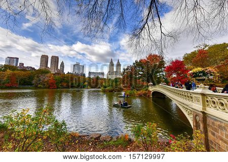 New York - November 13, 2016: Bow Bridge in the autumn in Central Park New York City.