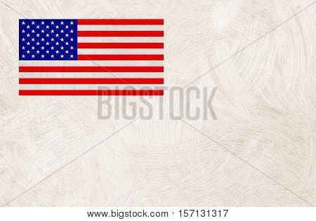 American flag on paper texture background in light sepia toned art paper or wall texture for background in light sepia tone.grey and white stars pattern old usa united soft vintage sheet tan.