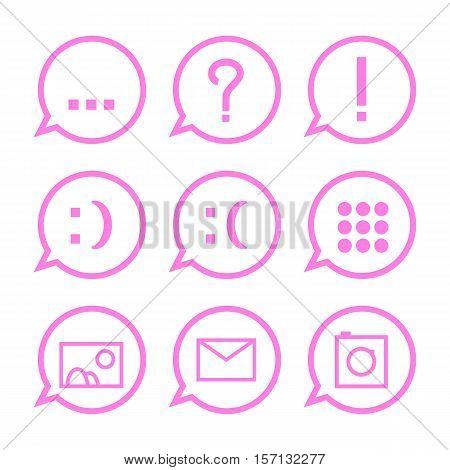 Pink communication icons in bubbles. Web messenger conversation icon set. Vector icons for social media chat. Message icon with question mark, explanation mark, smile, email, picture, photo