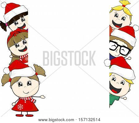 little kids with santa claus hat and blank board isolated on white background