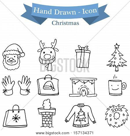 Christmas icon set vector illustration collection stock