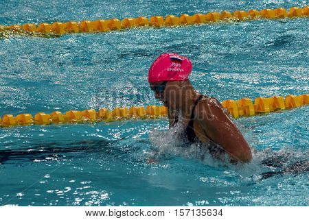 Hong Kong China - Oct 29 2016. Russian olympian and world champion breaststroke swimmer Yulia Yefimova swimming breaststroke. FINA Swimming World Cup Preliminary Heat Victoria Park Swimming Pool.