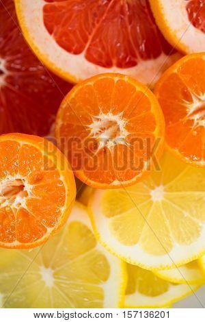 Close-up of sliced lemons, blood orange, orange