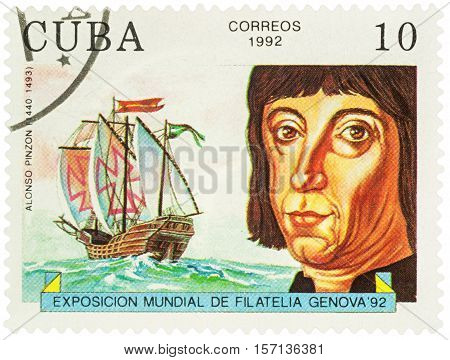 MOSCOW RUSSIA - NOVEMBER 16 2016: A stamp printed in Cuba shows Alonso Pinzon (1441-1493) a Spanish mariner shipbuilder navigator and explorer series