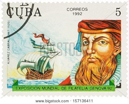 MOSCOW RUSSIA - NOVEMBER 16 2016: A stamp printed in Cuba shows Alvarez Cabral (1467-1520) Portuguese navigator discoverer of Brazil series