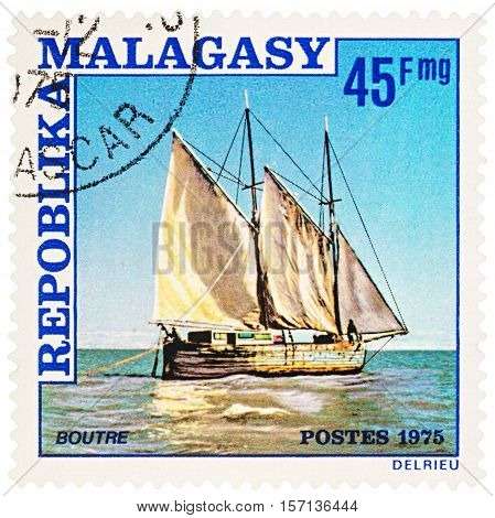 MOSCOW RUSSIA - NOVEMBER 12 2016: A stamp printed in Malagasy shows Arabic sailing ship circa 1975
