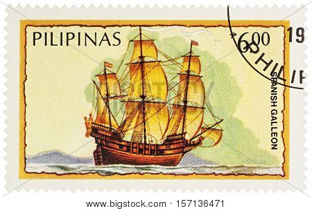 MOSCOW RUSSIA - NOVEMBER 15 2016: A stamp printed in Philippines shows three-masted sailing ship (Spanish galleon) series