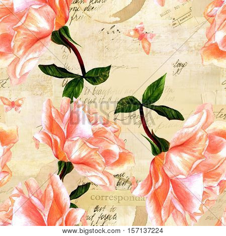 A seamless pattern with a watercolor drawing of a blooming pink rose and a butterfly, hand painted in the style of vintage botanical art, on the background of old ephemera