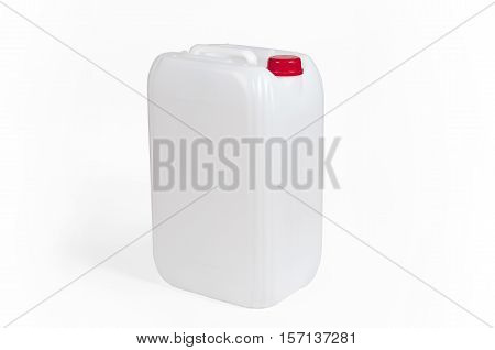 White plastic jerrycan with red cap on white background.