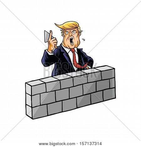 Donald Trump Building A Wall Cartoon Vector
