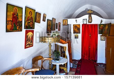 Kos, Greece - May 21, 2010 : The vintage interior of the Agios Vasili church in Pili village