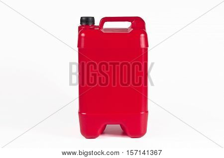 Red plastic jerrycan with black cap on white background.