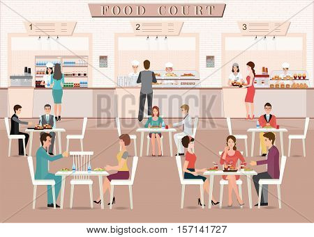 People eating in a food court in a shopping mall character flat design vector illustration.