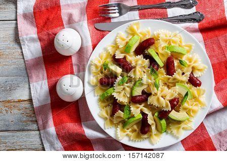 Italian Sausage Bow Tie Warm Pasta Salad