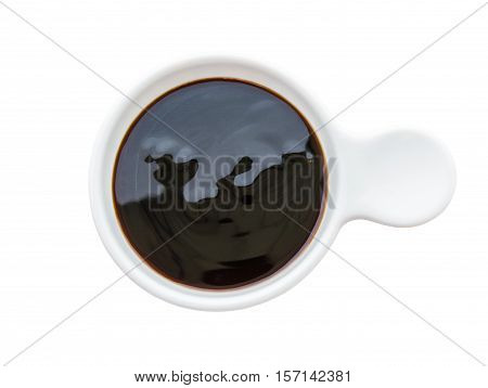 Oyster sauce in white bowl isolated on white background Saved clipping path.