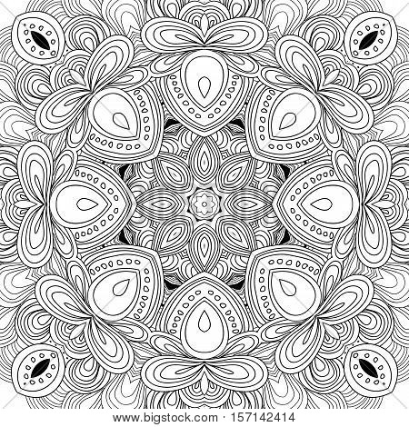 Uncolored symmetric tracery for colouring. Can be used as adult coloring book, coloring page, card, invitation. Sacred geometry