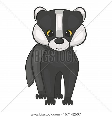Cute cartoon badger cub. Forest animal. Isolated on a white background. Vector illustration.