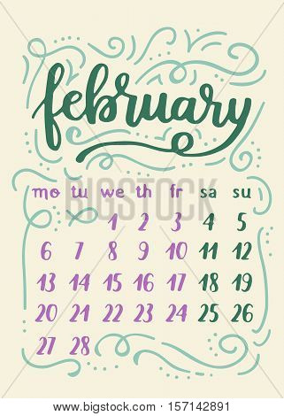 Winter 2017 Calendar For February. Cute Christmas Poster With Frost Decorations.