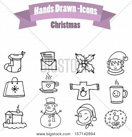Illustration of Christmas icon set collection stock