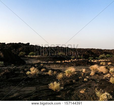 Lava fields around Erta Ale volcano Danakil Afar Ethiopia