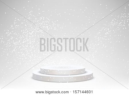 3d Empty white podium on blur winter background with snow . Vector illustration for showcase products on winter background with beautiful snowflakes.
