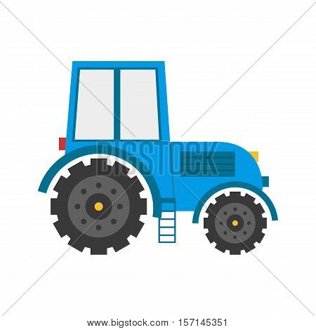 Vector illustration with cartoon flat isolated blue tractor. Farm agricultural transportation icon. Vector isolated tractor background. Cartoon farm machine equipment for harvest work